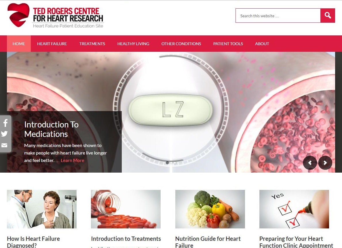 screenshot from the Ted Rogers Centre for Heart Research patient education website